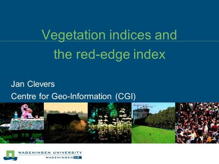 Vegetation indices and the red-edge index Jan Clevers Centre for Geo-Information (CGI)