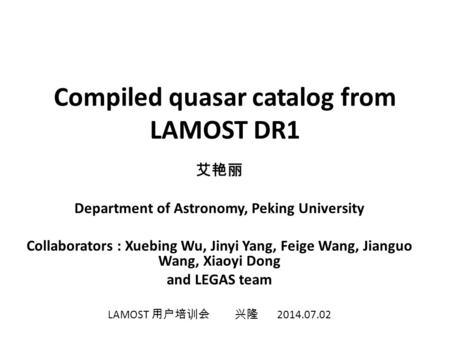 Compiled quasar catalog from LAMOST DR1
