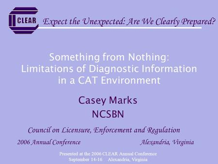 Presented at the 2006 CLEAR Annual Conference September 14-16 Alexandria, Virginia Something from Nothing: Limitations of Diagnostic Information in a CAT.