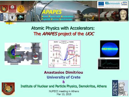 NUPECC meeting in Athens Mar 13, 2015 Anastasios Dimitriou University of Crete& Institute of Nuclear and Particle Physics, Demokritos, Athens Atomic Physics.
