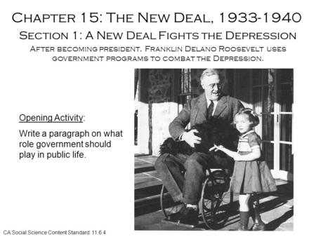 Chapter 15: The New Deal, 1933-1940 Section 1: A New Deal Fights the Depression After becoming president, Franklin Delano Roosevelt uses government programs.