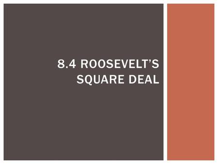 8.4 ROOSEVELT'S SQUARE DEAL.  Discuss Roosevelt's ideas on the role of government  Analyze how Roosevelt changed the government's role in the economy.