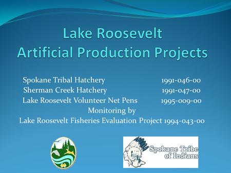 Spokane Tribal Hatchery1991-046-00 Sherman Creek Hatchery 1991-047-00 Lake Roosevelt Volunteer Net Pens 1995-009-00 Monitoring by Lake Roosevelt Fisheries.