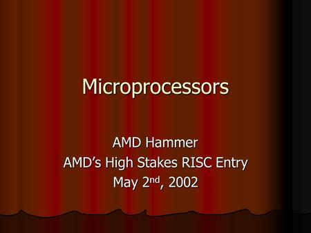 Microprocessors AMD Hammer AMD's High Stakes RISC Entry May 2 nd, 2002.