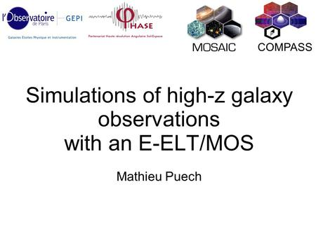 Simulations of high-z galaxy observations