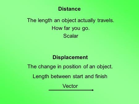 Distance The length an object actually travels. How far you go. Scalar Displacement The change in position of an object. Length between start and finish.