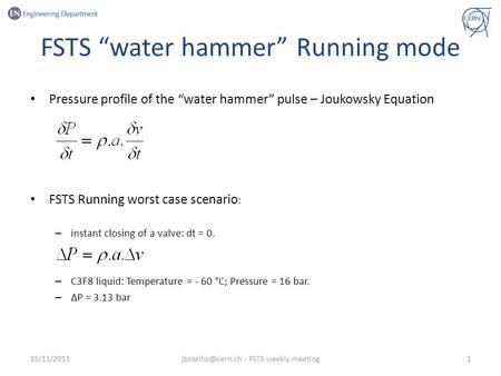 "FSTS ""water hammer"" Running mode Pressure profile of the ""water hammer"" pulse – Joukowsky Equation FSTS Running worst case scenario : – instant closing."