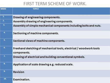 FIRST TERM SCHEME OF WORK. WEEKS TOPICS 1. Drawing of engineering components. 2. Assembly drawing of engineering components. 3. Assembly of simple mechanical.