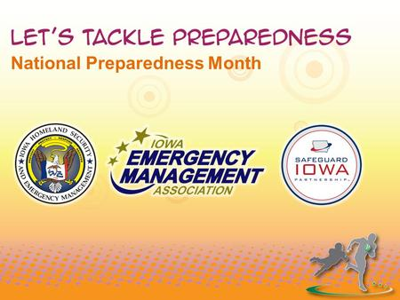 "National Preparedness Month. ""In football and in life, safety is important. We don't always know what obstacles we'll face, but we need to prepare for."