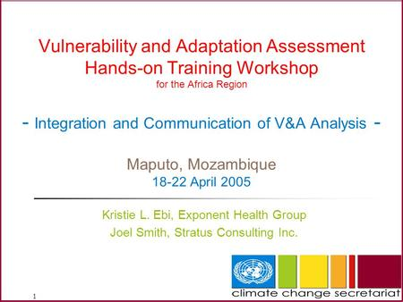 1 Vulnerability and Adaptation Assessment Hands-on Training Workshop for the Africa Region - Integration and Communication of V&A Analysis - Maputo, Mozambique.