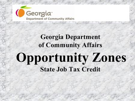 Georgia Department of Community Affairs Opportunity Zones State Job Tax Credit.