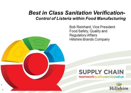 0 0 Best in Class Sanitation Verification- Control of Listeria within Food Manufacturing Bob Reinhard, Vice President Food Safety, Quality and Regulatory.