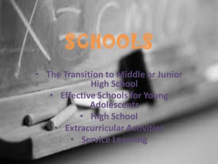 SCHOOLS The Transition to Middle or Junior High School Effective Schools for Young Adolescents High School Extracurricular Activities Service Learning.