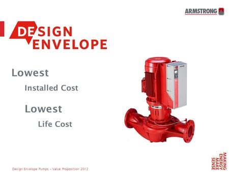 Design Envelope Pumps – Value Proposition 2012 Lowest Installed Cost Lowest Life Cost.