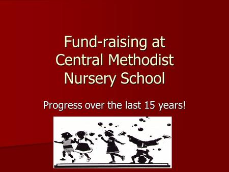 Fund-raising at Central Methodist Nursery School Progress over the last 15 years!