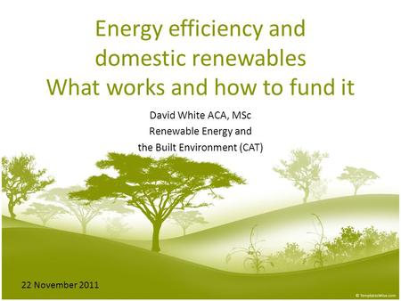 Energy efficiency and domestic renewables What works and how to fund it David White ACA, MSc Renewable Energy and the Built Environment (CAT) 22 November.
