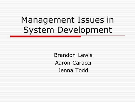 Management Issues in System Development Brandon Lewis Aaron Caracci Jenna Todd.