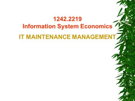 1242.2219 Information System Economics IT MAINTENANCE MANAGEMENT.
