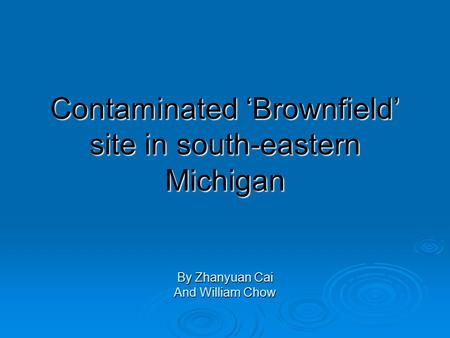 Contaminated 'Brownfield' site in south-eastern Michigan By Zhanyuan Cai And William Chow.