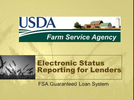 Electronic Status Reporting for Lenders FSA Guaranteed Loan System.