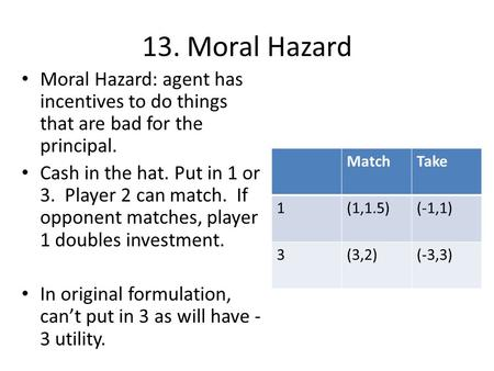 13. Moral Hazard Moral Hazard: agent has incentives to do things that are bad for the principal. Cash in the hat. Put in 1 or 3. Player 2 can match. If.