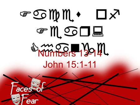 Faces of Fear: Change Numbers 13-14 John 15:1-11.