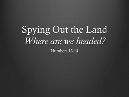 Spying Out the Land Where are we headed? Numbers 13-14.