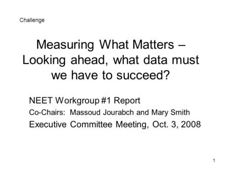 1 Measuring What Matters – Looking ahead, what data must we have to succeed? NEET Workgroup #1 Report Co-Chairs: Massoud Jourabch and Mary Smith Executive.