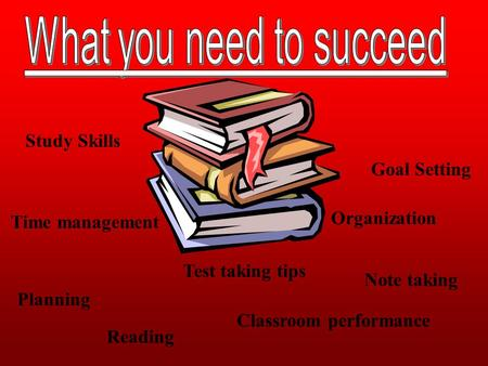Study Skills Goal Setting Planning Organization Test taking tips Classroom performance Reading Note taking Time management.
