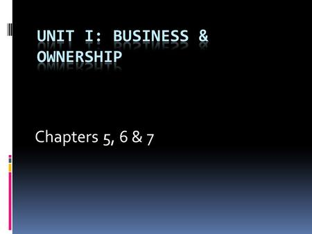 Chapters 5, 6 & 7. Entrepreneurs  An entrepreneur assumes the risk of starting and operating a business for the purpose of making a profit.