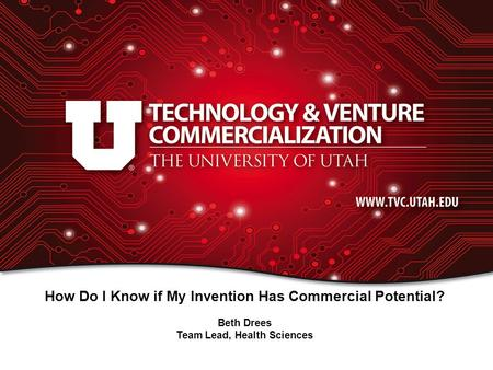 How Do I Know if My Invention Has Commercial Potential? Beth Drees Team Lead, Health Sciences.