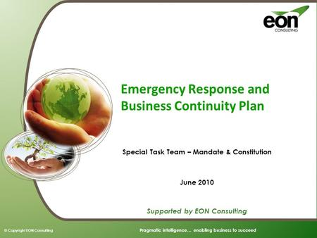 Emergency Response <strong>and</strong> Business Continuity Plan