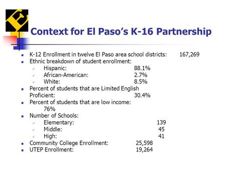Context for El Paso's K-16 Partnership K-12 Enrollment in twelve El Paso area school districts:167,269 Ethnic breakdown of student enrollment: Hispanic:88.1%