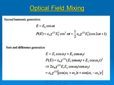 Optical Field Mixing. Oscillating Polarisation Optical polarisation Fundamental polarisation SH Polarisation Constant (dc) polarisation.