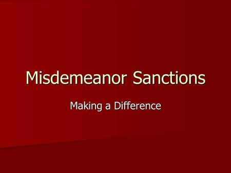 Misdemeanor Sanctions
