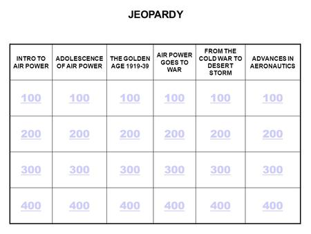 JEOPARDY INTRO TO AIR POWER ADOLESCENCE OF AIR POWER
