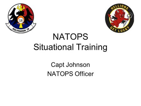 NATOPS Situational Training Capt Johnson NATOPS Officer.