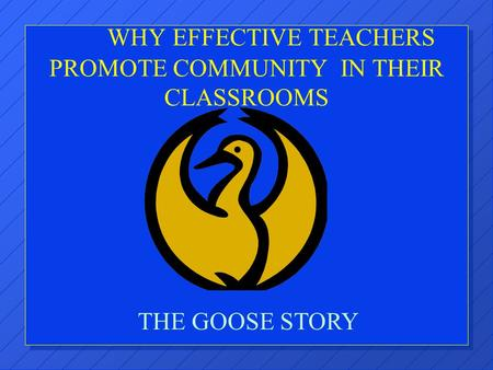 WHY EFFECTIVE TEACHERS PROMOTE COMMUNITY IN THEIR CLASSROOMS THE GOOSE STORY.