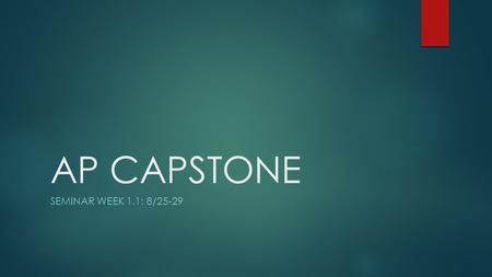AP Capstone Seminar - Tamalpais Union High School District