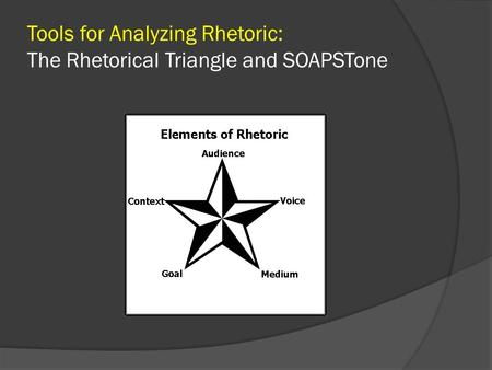 Tools for Analyzing Rhetoric: The Rhetorical Triangle and SOAPSTone.