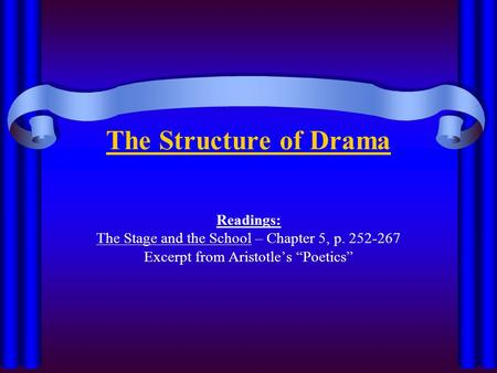"The Structure of Drama Readings: The Stage and the School – Chapter 5, p. 252-267 Excerpt from Aristotle's ""Poetics"""