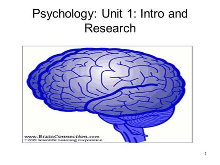Psychology: Unit 1: Intro and Research