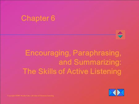 Copyright ©2007 Brooks/Cole, a division of Thomson Learning Chapter 6 Encouraging, Paraphrasing, and Summarizing: The Skills of Active Listening.