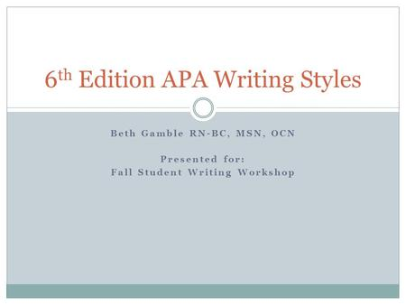 6th Edition APA Writing Styles