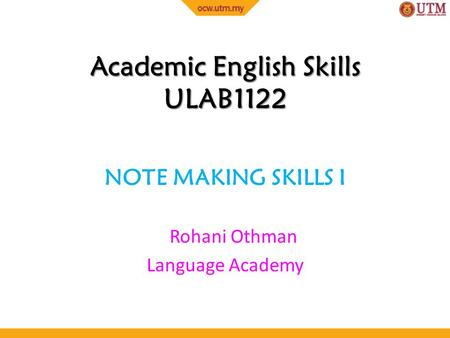 Academic English Skills ULAB1122
