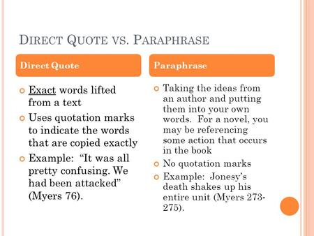 "D IRECT Q UOTE VS. P ARAPHRASE Exact words lifted from a text Uses quotation marks to indicate the words that are copied exactly Example: ""It was all pretty."