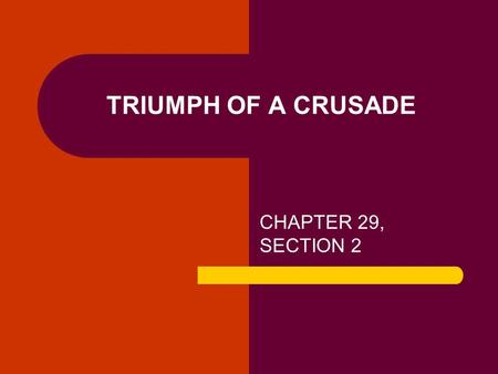 TRIUMPH OF A CRUSADE CHAPTER 29, SECTION 2. MAJOR DATES 1961: THE FREEDOM RIDES 1962: JAMES MEREDITH ENROLLS AT OLE MISS 1963: THE MARCH ON WASHINGTON.