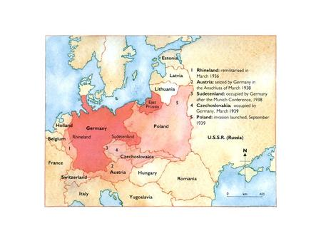German expansion in Europe, 1936 - 39 In November 1937 Hitler called a meeting of his military chiefs. He outlined his military plans. Colonel Hossbach.