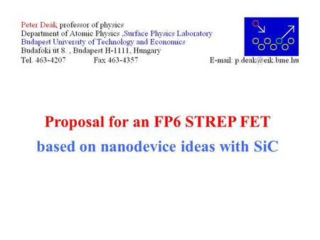 Proposal for an FP6 STREP FET based on nanodevice ideas with SiC.