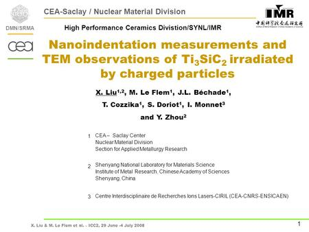 X. Liu & M. Le Flem et al. – ICC2, 29 June -4 July 2008 Primary Research on Ion Irradiation of Ti 3 SiC 2 DMN/SRMA 1 Nanoindentation measurements and TEM.